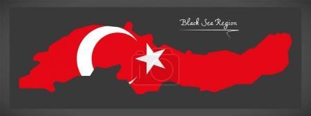Black Sea Region Turkey map with Turkish national flag illustrat