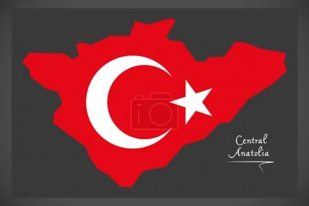 Central Anatolia Turkey map with Turkish national flag illustrat