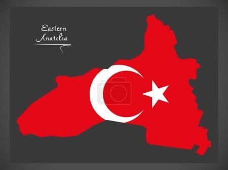 Eastern Aanatolia Turkey map with Turkish national flag illustra