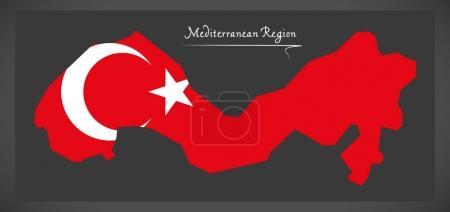 Mediterranean Region Turkey map with Turkish national flag illus