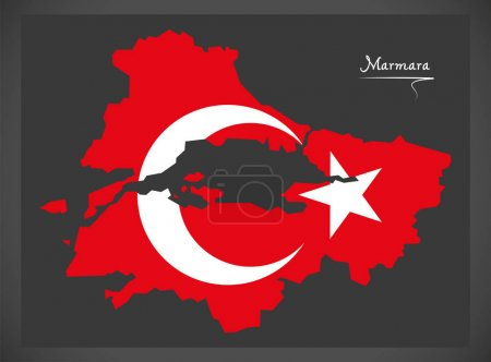 Marmara Turkey map with Turkish national flag illustration