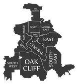 Dallas Texas city map USA labelled black illustration