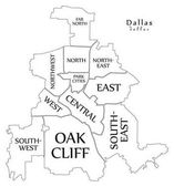 Modern City Map - Dallas Texas city of the USA with boroughs and