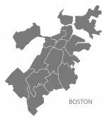 Boston Massachusetts city map with boroughs grey illustration silhouette shape