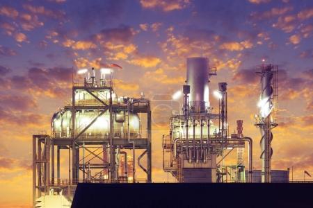 Photo pour Machines dans le processus de la centrale électrique au crépuscule . - image libre de droit