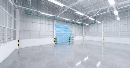 Photo pour 3d réalisation de portes d'usine et volets et de plancher en béton pour arrière-plan industriel. - image libre de droit