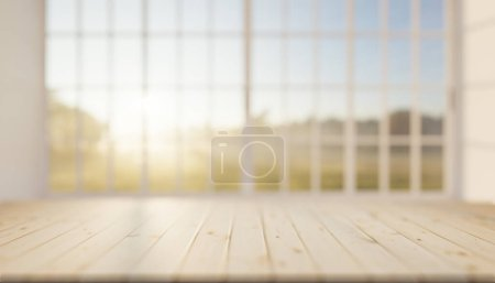 3D-Rendering von Holzarbeitsplatte Produktdisplay und verschwommenem Fensterhintergrund.