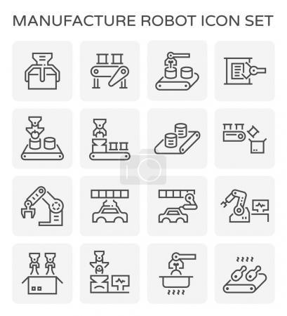 Illustration pour Ensemble robot de fabrication et icône de ligne de production . - image libre de droit