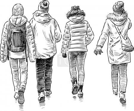 Illustration pour Dessin vectoriel des adolescents lors d'une promenade . - image libre de droit