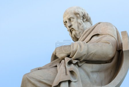 Abstract Marble Statue of the Philosopher Plato