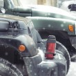 Постер, плакат: Hammer H3 and Jeep Wrangler Jk in the courts of St Petersburg