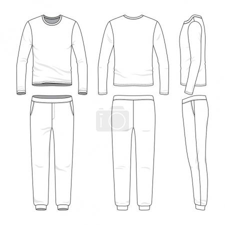 Front, back and side views of lon sleeved shirt an...