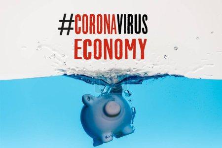 Photo for Piggy bank going under blue water with splash isolated on white, coronavirus economy illustration - Royalty Free Image