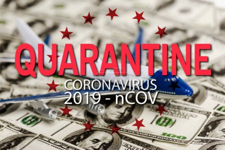 Photo for Selective focus of plane model on dollar banknotes, coronavirus quarantine illustration - Royalty Free Image