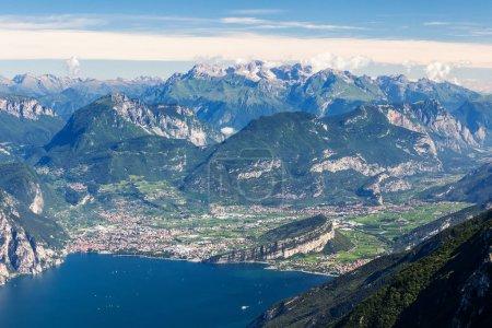 Lago di Garda, Torbole and Riva del Garda. Mountains in backgrou