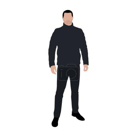 Illustration pour Homme debout dans une veste en plumes, illustration vectorielle plate - image libre de droit