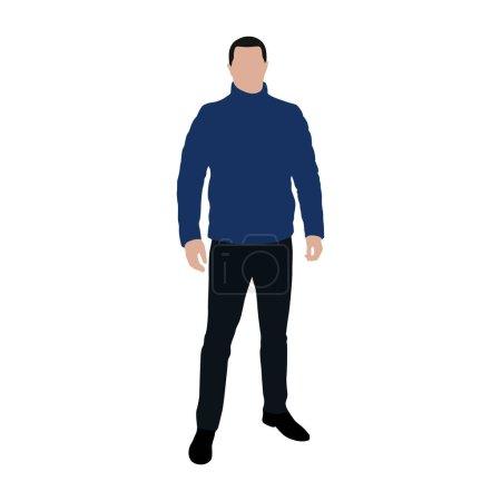 Illustration pour Homme debout veste en plume bleue, illustration vectorielle plate - image libre de droit