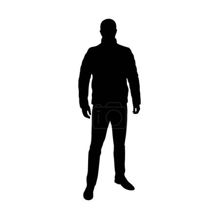 Illustration pour Homme debout en veste de plumes, silhouette vectorielle - image libre de droit