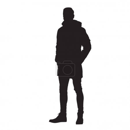 Illustration pour Homme debout en veste d'hiver avec les mains dans les poches, silhouette vectorielle isoaltée - image libre de droit