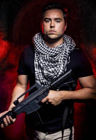 Mercenary Soldier in a Smoky Warzone