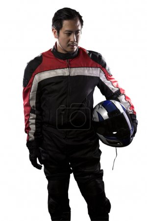 Race Car Driver or Biker on a White Background