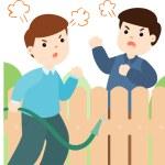 Male neighbor fighting vector illustration...
