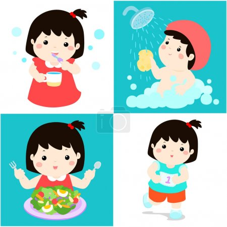 Daily healthy routine for girl cartoon vector