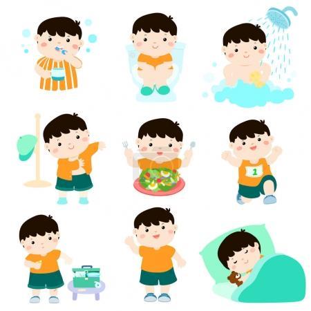 Healthy hygiene for boy cartoon vector
