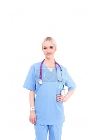 Portrait of female doctor standing against isolated on white background. Woman doctor.