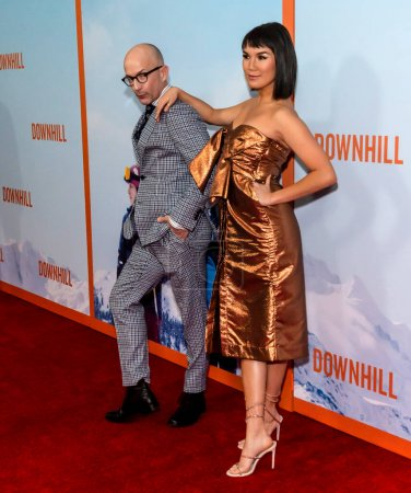 """Photo for New York, NY - Feb 12, 2020: Jim Rash and Zoe Chao attend the premiere of """"Downhill"""" at SVA Theater. - Royalty Free Image"""
