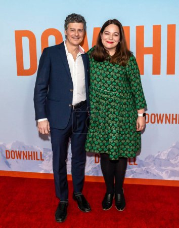 """Photo for New York, NY - Feb 12, 2020: Anthony Bregman and Stefani Azpiazu attend the premiere of """"Downhill"""" at SVA Theater. - Royalty Free Image"""