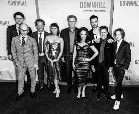 """Photo for New York, NY - Feb 12, 2020: Zach Woods, Jim Rash, Nat Faxon, Zoe Chao, Julia Louis-Dreyfus, Will Ferrell, Giulio Berruti, Ammon Ford and Julian Grey attend the premiere of """"Downhill"""" at SVA Theater. - Royalty Free Image"""
