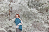 Beautiful red-haired girl with a scarf on his shoulders walking in the winter forest of firs and pines stilled