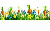 Green Grass seamless isolated clip art vector on white with blue butterflyes easter bunny carrots and yellow daffodils