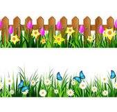 Green Grass set with flowers butterflyes and wooden fence with flowers pink tulips and yellow daffodils borders seamless isolated clip art vector on white