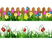 Green Grass set with strawberries on green grass and wooden fence with flowers pink tulips and yellow daffodils borders seamless isolated clip art vector on white