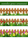 Green Grass set with strawberries on wooden rustic fence and wooden fence with flowers pink tulips and yellow daffodils borders seamless isolated clip art vector on white
