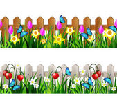 Green Grass set with strawberries on white fence and wooden fence with flowers pink tulips and yellow daffodils borders seamless isolated clip art vector on white