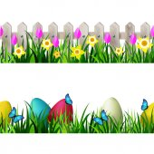 Green Grass set and white wooden fance easter eggs butterflyes seamless isolated clip art vector on white with rose tulips and yellow daffodils