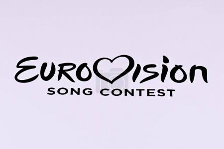 KYIV, UKRAINE - FEBRUARY 11, 2017: Eurovision logo printed on an advertising banner with a white background during national selection the Eurovision-2017