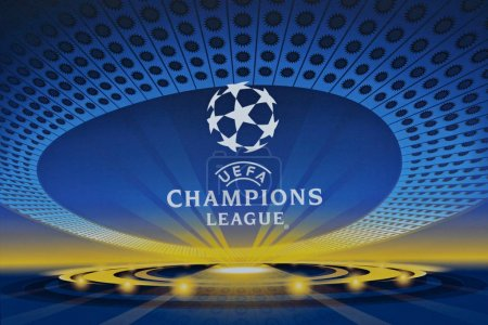KYIV, UKRAINE - MAY 12 2018: Logo of FC Real Madrid and FC Liverpool close-up. Symbols of the Final of the UEFA Champions League in Kiev.