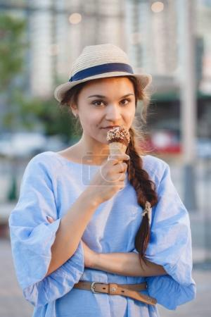woman eating ice-cream