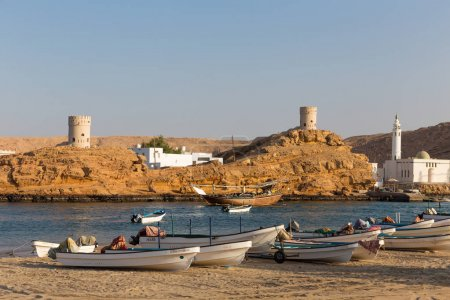 SUR, OMAN - NOVEMBER 25, 2017: Fishing boats in the bay of Sur, in Oman.