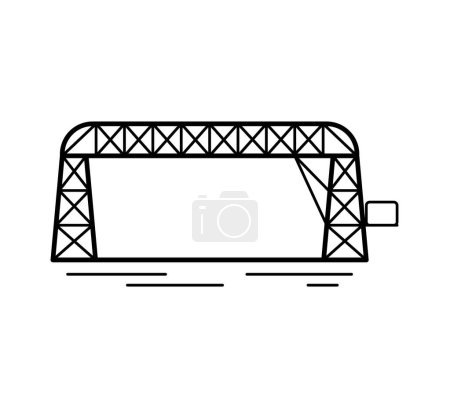 Illustration for Transporter bridge line icon isolated on white background. Urban architecture. Vector illustration. - Royalty Free Image