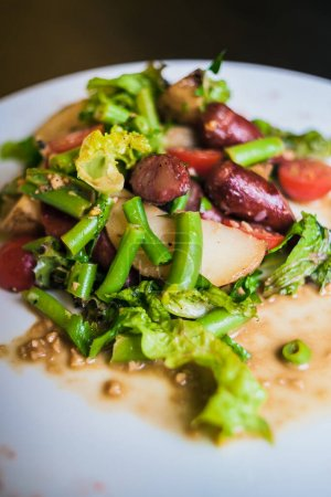 Photo for Munich salad with potatoes and sausages - Royalty Free Image
