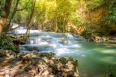 Landscape of Huai Mae Kamin waterfall Srinakarin Is a waterfall in the deep forest at Kanchanaburi, Thailand.