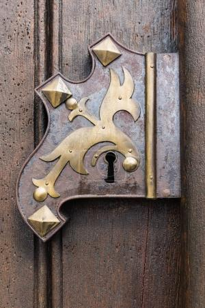 Large wooden door with wrought-iron elements. Decorative door with fittings.