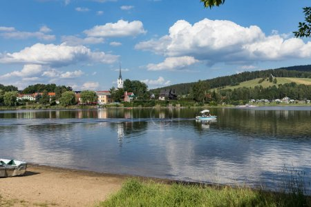 Panorama in village Frymburk, Lipno lake, Czech republic