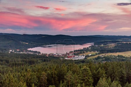 Panorama of lake Lipno in south Bohemia, Czech Republic, Europe, 160 km or 100 miles south of Prague.