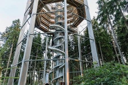Treetop Walkway in Lipno, touristic place and unique construction in the Czech Republic. Treetop Walkway Lipno, unique in the whole country and first walkway of its kind in Czech Republic.